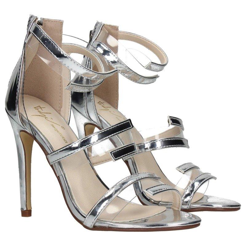 150462272f9351 Srebrne sandały na szpilce Kliknij, aby powiększyć ...