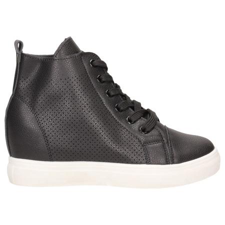 Sneakersy czarne na koturnie