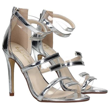 Srebrne sandały na szpilce