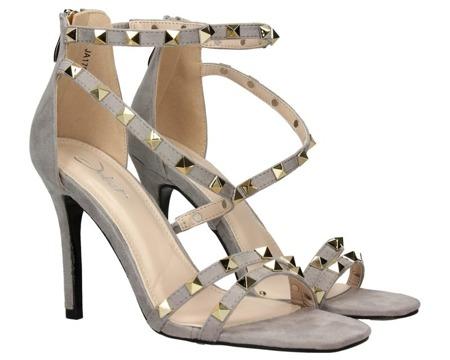 Szare sandały na szpilce